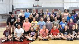 Clarke volleyball working on teamwork